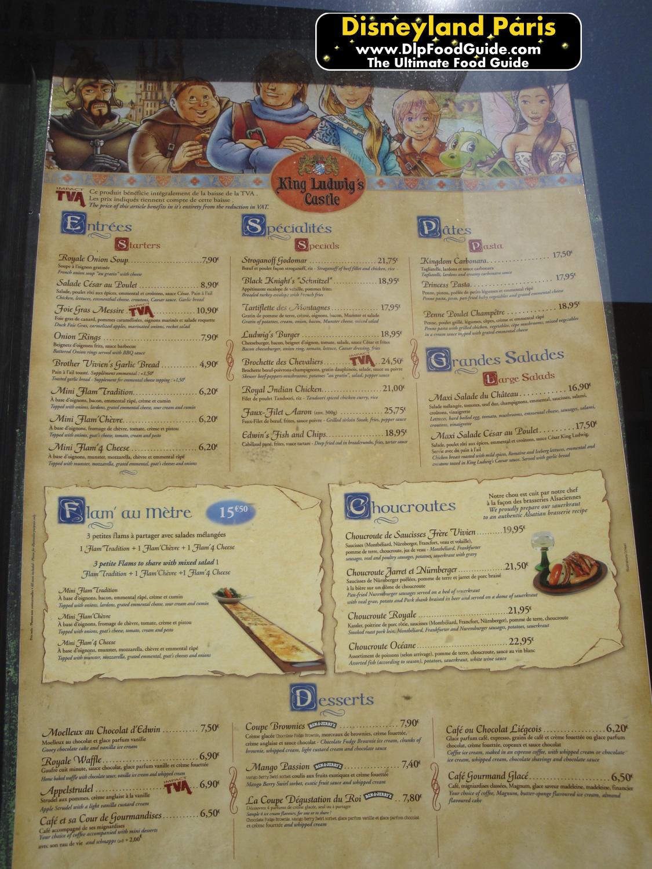 Menu Restaurant King Ludwig Disneyland